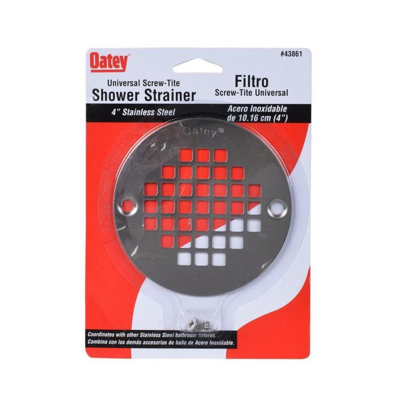 4 in. Round Universal Screw-in Shower Strainer in Stainless Steel