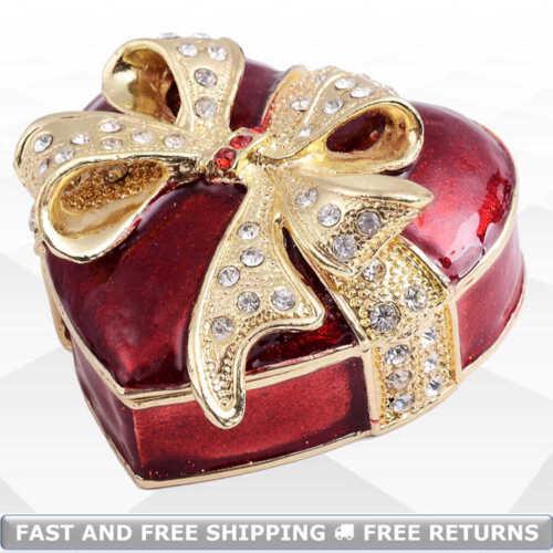 Heart Shaped Jewelry Pill Trinket Box With Hinged Lid Bejeweled Rhinestone Decor