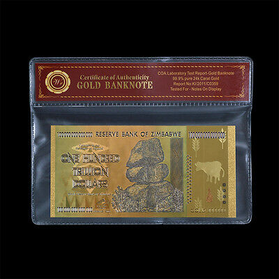 WR Zimbabwe 100 Trillion Dollars Banknote Color Gold Bill Nice Derail In Sleeve