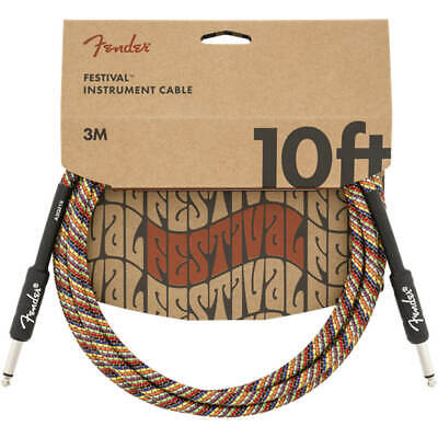 Fender 10' Straight Festival Instrument Cable, Rainbow