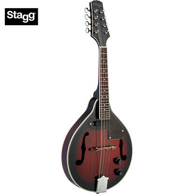 NEW Stagg M50 E Acoustic Electric Bluegrass Mandolin with Nato Top - Redburst