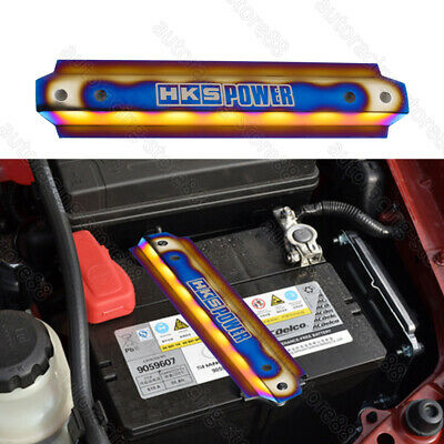 Universal HKS POWER Burnt Blue Billet Battery Tie Down Bar w/Stainless Tray -