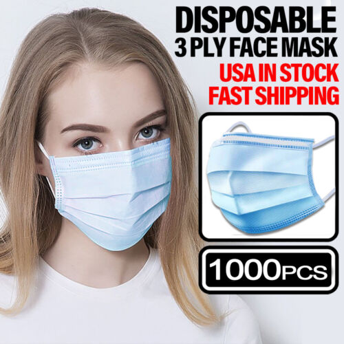 1000 PCS Face Mask Non Medical Surgical Disposable 3PLY Earloop Mouth Cover Business & Industrial