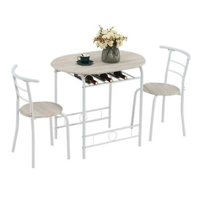 3 Piece Metal Dining Table Set 2 Chairs Kitchen Breakfast Dining Room Furniture