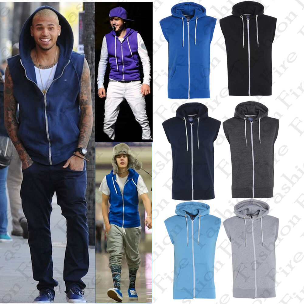 Mens Boys Plain Zipper Fleece Sleeveless Hoodies Sweatshirt Top ...