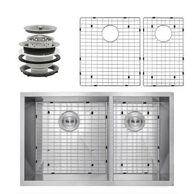 "AKDY Handcrafted All-in-One Undermount Stainless Steel 33""x22 x9"" 2-Bowl Kitchen"