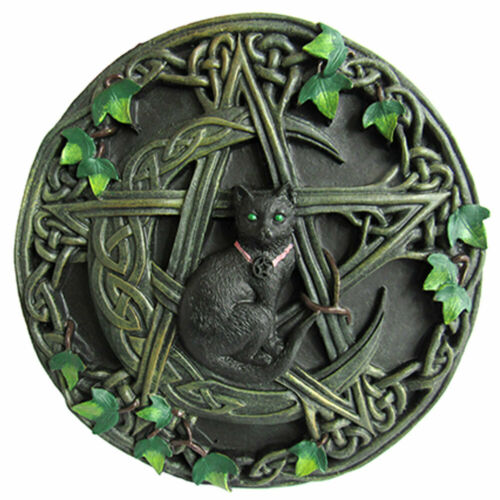 """NEW Cat and Pentagram Plaque 7.5"""" Cast Resin Wall Hanging Pagan Altar Tile"""
