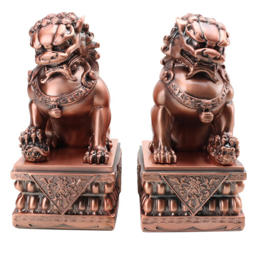 "Feng Shui LARGE 8.5"" Rose Gold Fu Foo Dog Guardian Lions Wealth Protection~ USA"