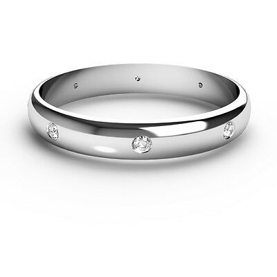 9CT White Gold Diamond Wedding Ring D Shaped Band Set With 8 Diamonds D-shaped Band Wedding Ring
