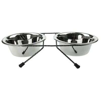 Pet bowl on stand for dog and cat 350ml each elevated bowl stainless steel