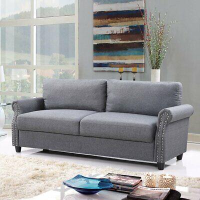 Classic Living Room Linen Sofa with Nailhead Trim and Storag