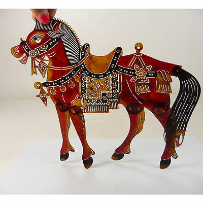 old handwork china shanxi folk art carved horse cowhide shadow puppet