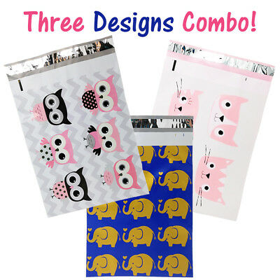 10x13 Designer Owls Cats Poly Mailers Combo Pack Quality Shipping Envelopes