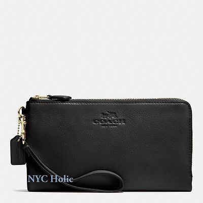 New Coach F54056 Double Zip Wallet In Pebble Leather Black Wristlet NWT