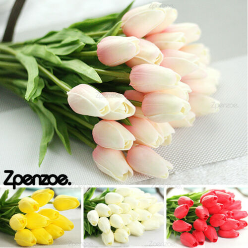 Home Decoration - Artificial Tulip Flowers False Fake Bouquet Real Touch Home Wedding Decor