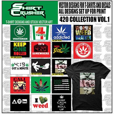 420 Vol1 -vector Clipart- Screen Print Vinyl Cutter Eps Tshirt Designs Cd