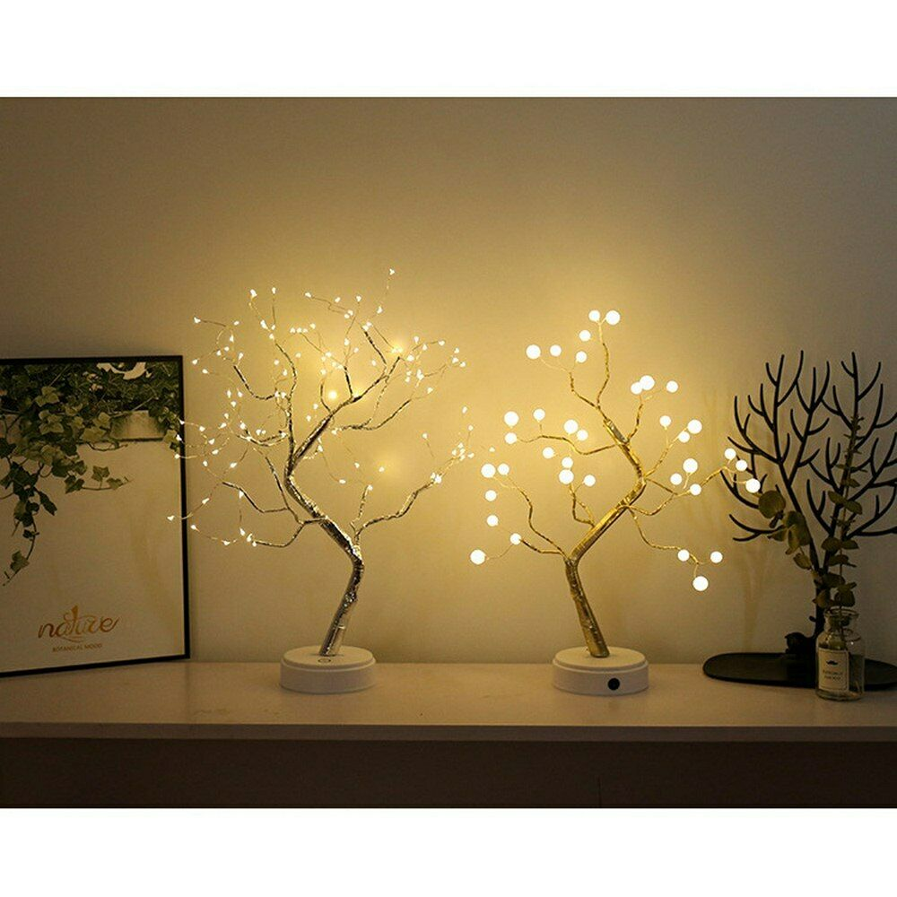LED Warm White Night Light Twig Tree Lights Home Party Decor Fairy String Lamp