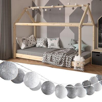 Vicco Guirnalda luminosa Bolas de algodón Blanco y gris 310 cm