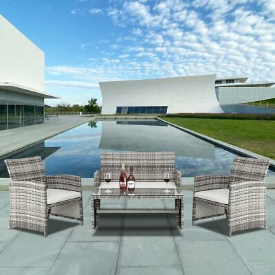 Garden Furniture - 4PCS Patio Rattan Wicker Furniture Set Cushioned Chair Glass Table Top Garden