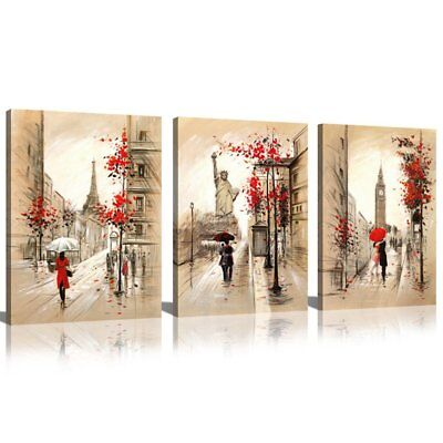 Modern Canvas Wall Art With Frame Paris New York London 3 Piece Panel Paintings