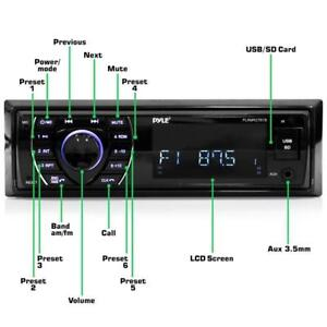 PYLE PLRMR27BTB / PLRMR23BTW Bluetooth Marine Receiver Stereo, Hands-Free Calling, Wireless Streaming, MP3/USB/SD