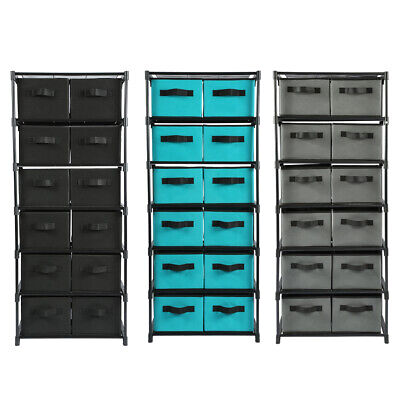 Storage Shelf Unit Drawers Rack Closet Organizer With 12 Foldable Storage -