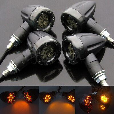 4x Motorcycle LED Lamp Rear Turn Signal Brake Indicators lights Amber For Harley