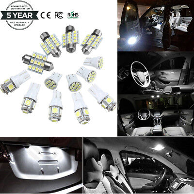 13x White LED Package Interior For Dome Map License Lights T10 & 31mm Bulb Lamp](Led White Lights)