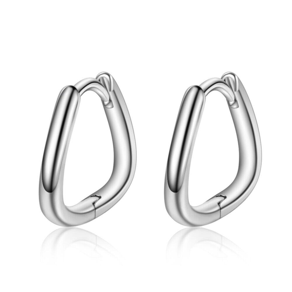 Jewellery - 925 Sterling Silver Polish Heart Huggie Hoop Stud Earrings Womens Jewellery Gift