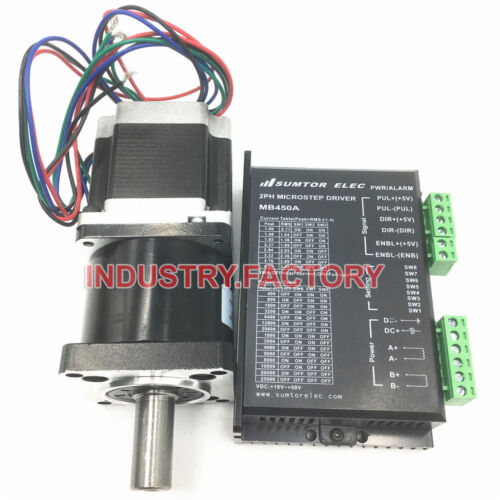 10:1 Nema23 Planetary Gearbox /& 2PH CNC Stepper Motor Driver 3Nm 425oz-in L112mm