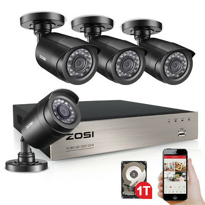 ZOSI 8CH 1080N DVR 1TB HDD Outdoor 720p Home Surveillance Security Camera System