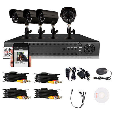 4CH 960H HDMI DVR 900TVL Outdoor CCTV Video Home Security IR-CUT Camera System
