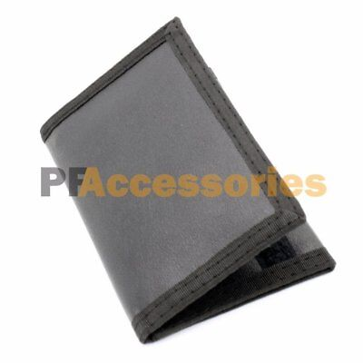 Mens Credit Card Trifold Nylon Wallet Black w/ Touch Fasteners Closure