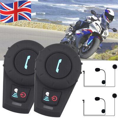 2x 500M Motorcycle Rider Helmet Intercom Bluetooth Motorbike FM Radio Handsfree