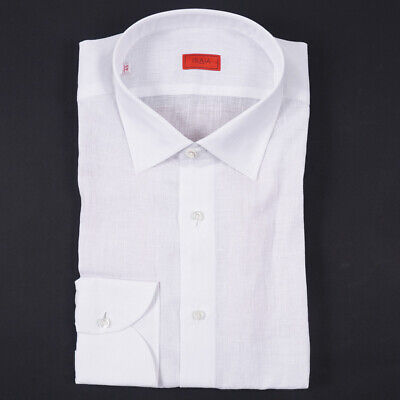 NWT $545 ISAIA Modern-Fit 'Milano' White Extrafine Linen Dress Shirt 17