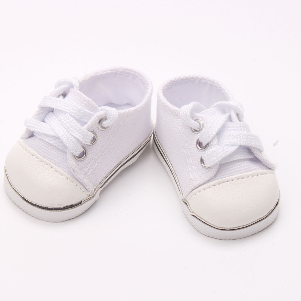 US Stock Doll Clothes Dress Outfits Pajames For 18 inch Xmas Gift Dress Shoes N. White Canvas