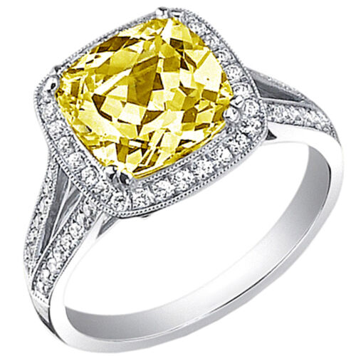 Amazing GIA 3.25 Carat Fancy Yellow Cushion Cut Diamond Engagement in Platinum