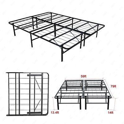 Modern Queen Size Bi-Fold Folding Platform Metal Bed Frame Mattress Foundation