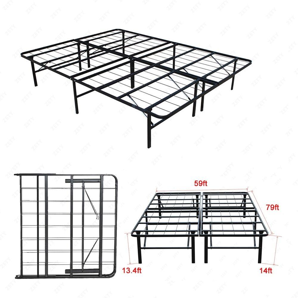 innovative design 8ffd1 cdc84 Details about Modern Bi-Fold Queen Size Metal Bed Folding Platform Frame  Mattress Foundation