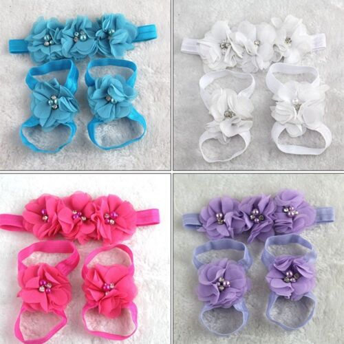 Foot flower Shoes Rhinestone Headband Chiffon Baby Girl Infant Hair band