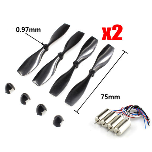 8pcs 75mm Blade Propeller & 0820 Coreless Motor for DIY Micro FPV Quadcopter