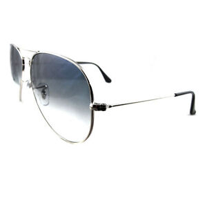 edaebe0484 Womens Ray-Ban Aviator Rb3025 003 3f 58 Silver With Blue Gradient Lens  Authentic