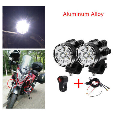 12V Aluminum Alloy External LED Headlights with Lampshade 9 Lights X2+Harness