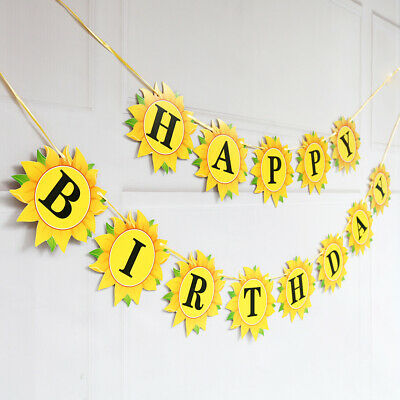 Sunflower Party Supplies (Creative Yellow Sunflower Happy Birthday Party Hanging Flag Party)