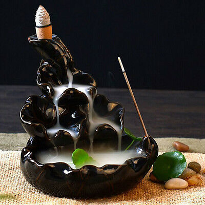 New Black Porcelain Backflow Ceramic Cone Incense Burner Holder Buddhist Cones