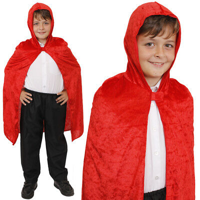CHILDS RED VELOUR VELVET HOODED CAPE HALLOWEEN FANCY DRESS COSTUME VAMPIRE](Halloween Red Hooded Capes)