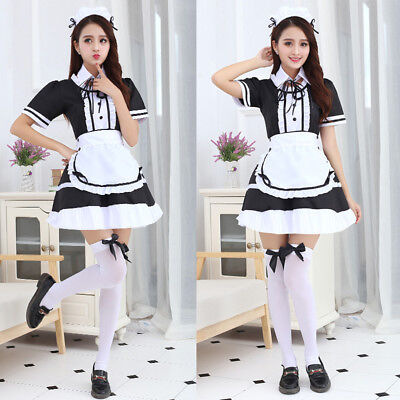 Sexy Japanese Anime Lolita Maid Uniform Dress Cosplay Costume Outfit Plus Size