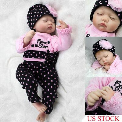 Reborn Baby Toy Newborn Lifelike Silicone Vinyl Sleeping Girl Dolls 22 Inch](Baby Doll Toys)