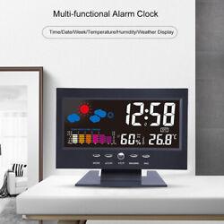 Multifunctional Digital LCD Alarm Clock Backlight Hot Temperature Display Black
