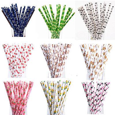 25pcs Striped Animal Cartoon Biodegradable Paper Straws Wedding Birthday Party
